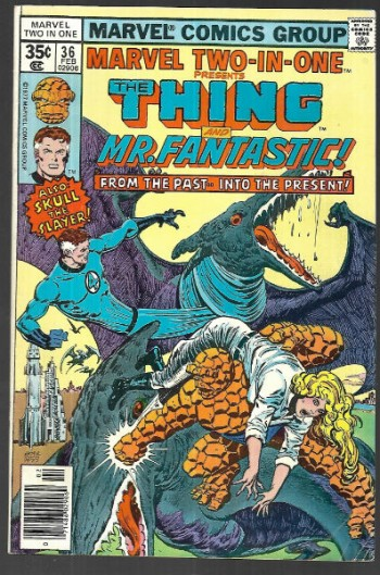 "Image for Marvel two-in-one #36 presents the Thing and Mr.Fantastic,""From the past,into the present"