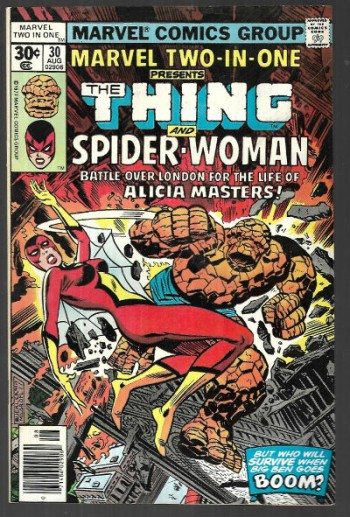 "Image for Marvel Two-in-One #30;Presents The Thing and Spider-Woman;""Battle over London for the life of Alicia Masters"""