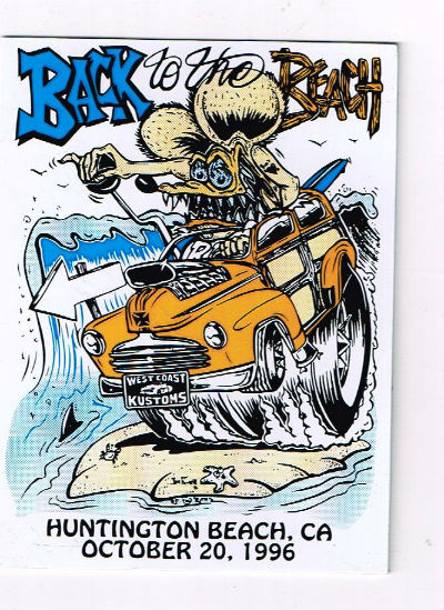 "Image for Back to the beach:Huntington Beach,Ca.,Oct,20,1996 tin sticker of Roth's ""Rat Fink"""