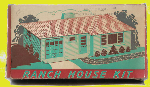 Image for Vintage O Scale Plasticville Pink Ranch House Building