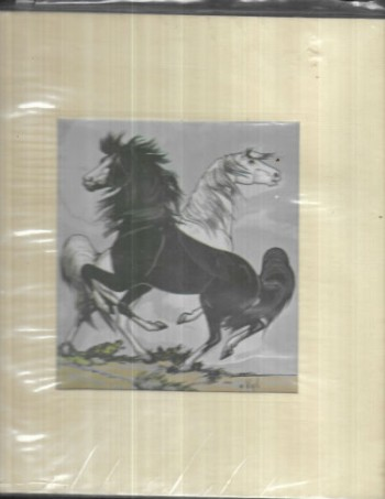 "Image for Frank Vigil silk Screen printing;Black and White Stallions   10.5"" X 11.25"""
