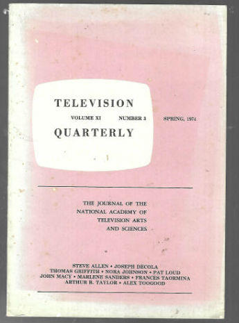 Image for Television Quarterly:Spring ,1974
