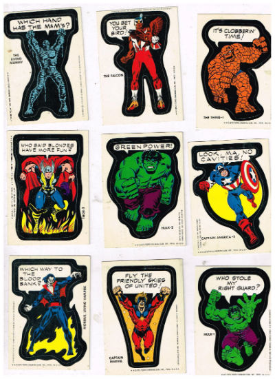 Image for 1975 Topps Comic Book Heroes Captain Marvel,Morbius,Thor...more,;Lot of 14