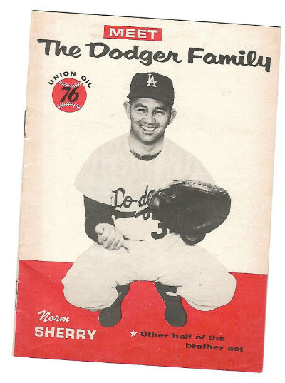 Image for Norm Sherry 1960 Meet The Dodger Family Union Oil 76 Booklet Dodgers