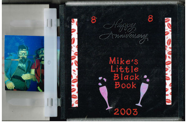 "Image for Mike's Little Black book,""Happy Anniversary ""08/08,2003. Erotic photo journal taken by Lucky Mike's Randy girlfriend Collen"