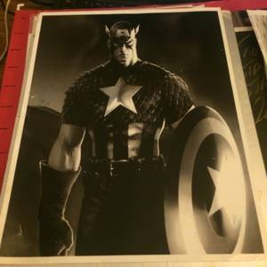 "Image for Captain America 11""x 8.5"" in monochrome"