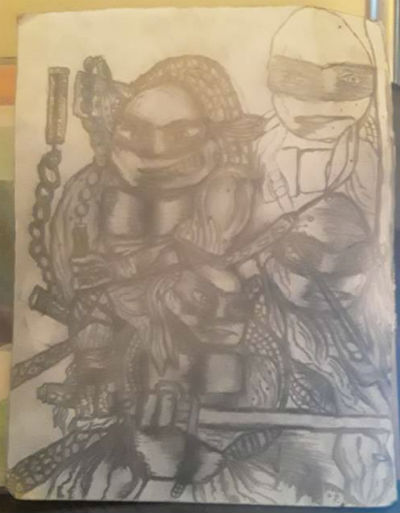 Image for Teen-age Mutant Ninja Turtles pencil drawing,Venice,Ca.,2019