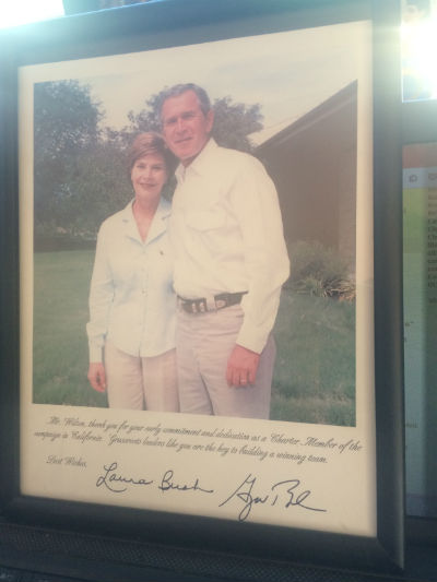 Image for George and Laura Bush,framed campaign photo auto-signed