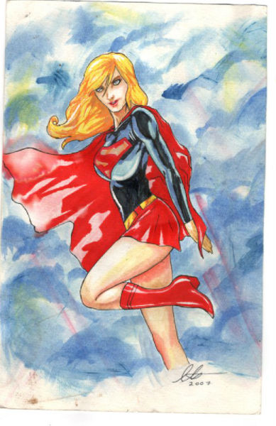 Image for Supergirl rendering:Watercolor-signed