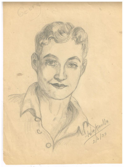 Image for Julia Kirilla:2 6x10,pencilled self portraits with mailer either drawn in 1933 or she was born in 1933
