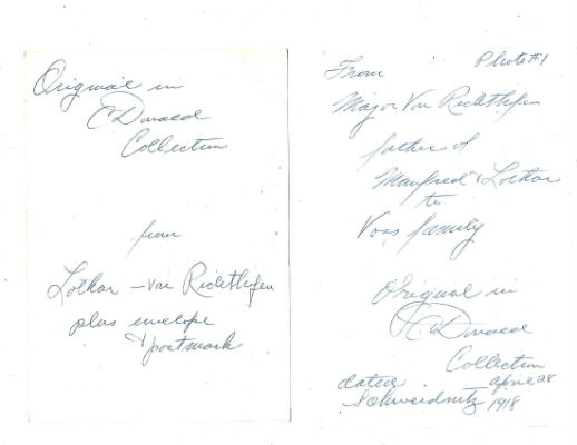 Image for 3 photographs of 2 letters written by baron Von Richtofen