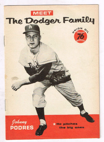 "Image for Meet the Dodger familyJohnny Podres,""He pitches the big one""  Union oil 76 promo give-away"