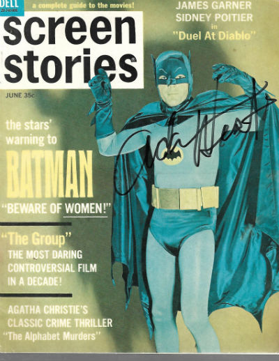 Image for BATMAN ADAM WEST AUTOGRAPHED JUNE 1966 SCREEN STORIES