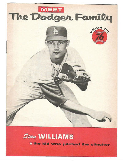 Image for 1960 Meet The Dodger Family Stan Williams Union Oil 76 Booklet Dodgers,1960