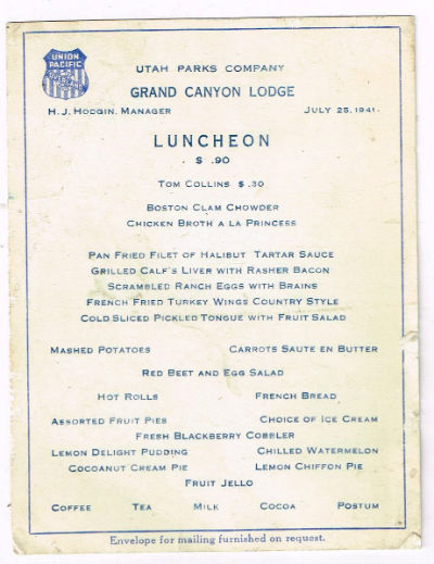 Image for Menu From Grand canyon Lodge