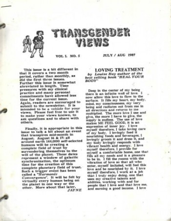 Image for Transgender News Vol.L.No.5,July/aug.,1987-June 1990,11 sporadic issues between these times