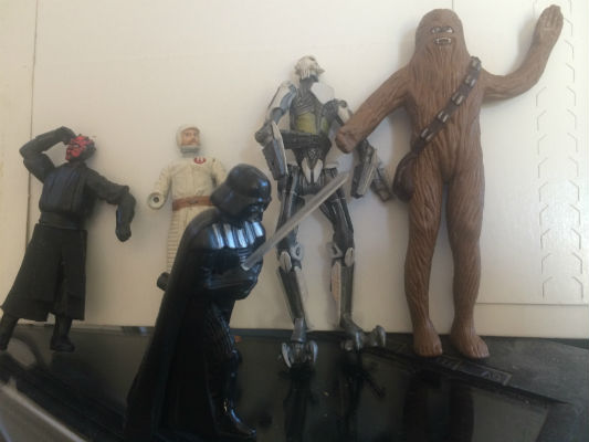 Image for 5 forgotten Star Wars figures;Darth Maul and Vader,skeleton robot,general Mcguff and Chewy