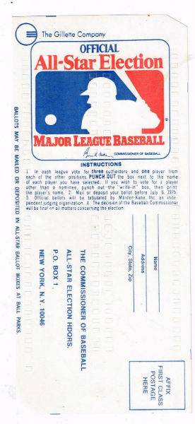 Image for 1975 All Star Game Ballot(Unpunched)(16 Hall Of Famers)