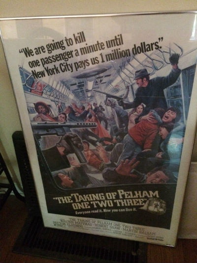 "Image for The Taking of Pelham One Two Three (1974 film)POSTER (34/314)framed stainless and glass,measuring aprox. 27""x40"""