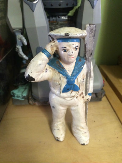"Image for X  Vintage Cast Iron 5"" Tall Sailor Piggy Bank, Cast Iron Toy Naval Man"