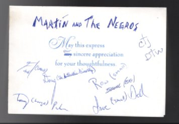 Martine and the Negroes Thank you card signed by all the performers.