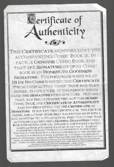 Image for HiDeHo Certificate of authenticity