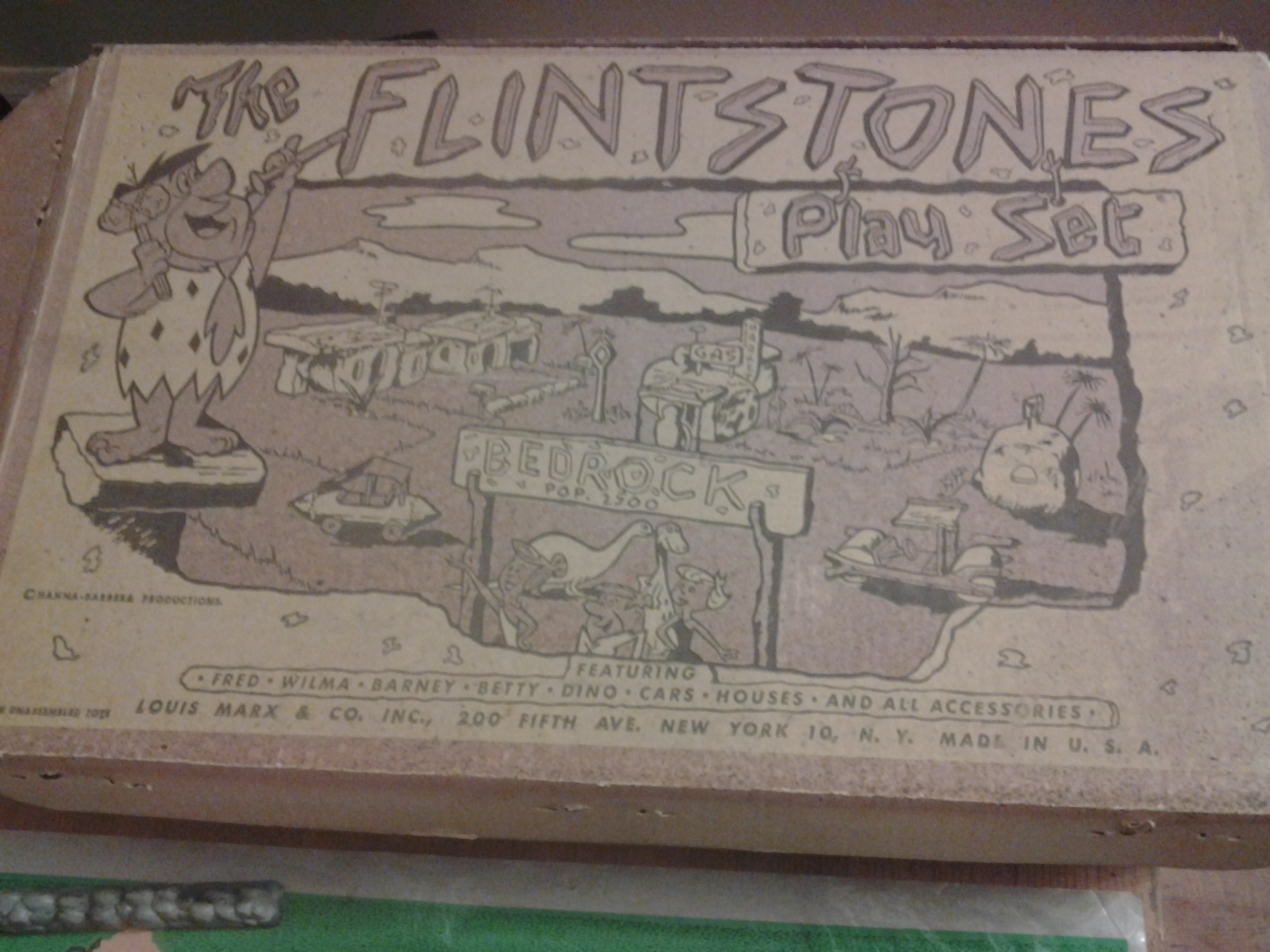 Image for the flintstones playset by marx 1965