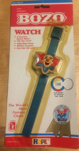 Image for Vintage 1989 LARRY HARMON's BOZO the CLOWN WRISTWATCH Watch SEALED MIP MINT NOS!