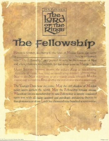 Image for J.R.R Tolkien's ,The Lord of the rings,the Fellowship certificate of belonging