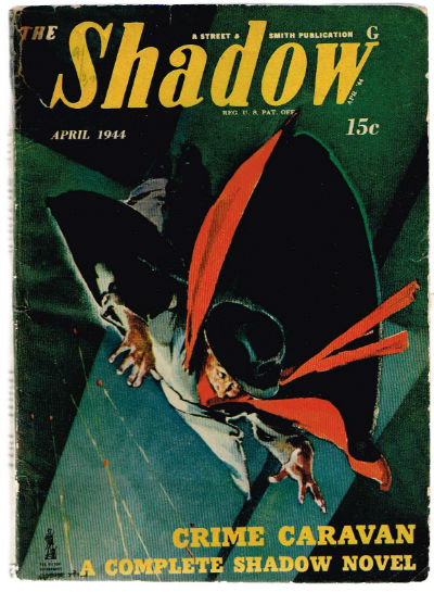 "Image for The Shadow-Pulp Digest Magazine ""Crime Caravan"". April, 1944. Shadow Appears on the Cover"