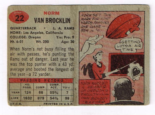 Image for 1957 Topps Norm Van Brocklin #22 Football Card. Rams and vikings