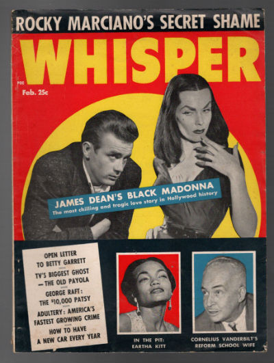 WHISPER MAGAZINE-James DeanMaila NurmiVampira-Cover-Feb 1956-RARE