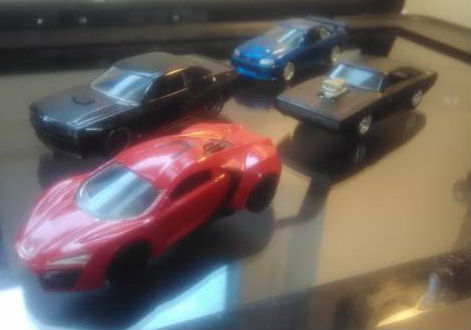 Image for Fast & Furious 1:55 Diecast Cars 1970 Dodge Charger RT,Lykan Hypersport,2012 Dodge Challenger SRT8,2002 Nissan Skyline GT-R  all 4 loose
