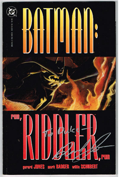 Batman: Run, Riddler, Run #1 VF 1992 graphic novel TPB DC Jones & Badger-signed by Jones