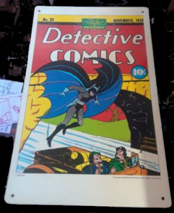"Image for Detective Comics No.33 poster/sign. Measures: 17""x11"" on hard cardboard."