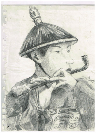 "Image for Pencil Drawing of Chinese guy playing flute 8""X10"",B&W"