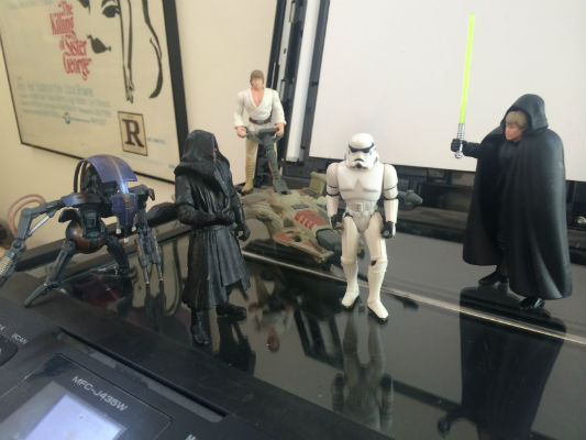 "Image for 5 Star Wars  action figures.  The story so far.....White Luke and black Luke were coming home from the poopoo platter galxy when they met Darth Maul who was so angry because they took th space kabooble without permission and Black luke said,""....."