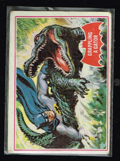 Image for SCANLENS 1966 BATMAN RED BAT CARD #2A GRAPPLING A GATOR